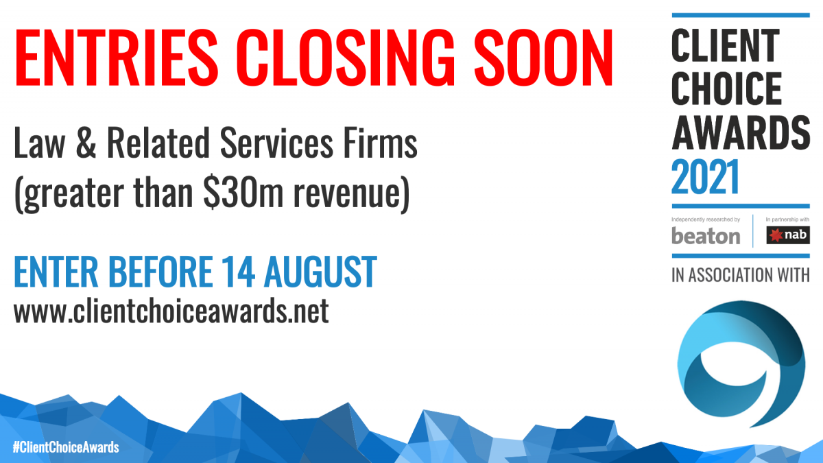 Entries close soon for revenue category greater than $30 million. Enter by 14 August 2020.